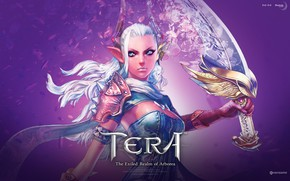 Картинка девушка, меч, рога, Tera