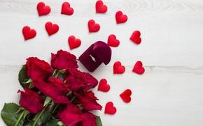 Картинка любовь, цветы, праздник, розы, букет, кольцо, сердечки