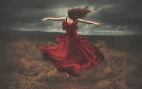 Картинка поле, небо, девушка, спина, платье, бег, Shelby Robinson