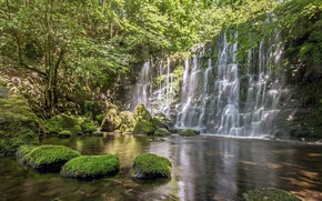 Картинка пейзаж, озеро, камни, водопад