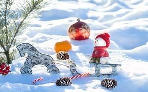 Картинка снег, украшения, игрушки, Новый Год, Рождество, снеговик, christmas, wood, winter, snow, merry, snowman, decoration, fir …