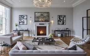 Картинка интерьер, камин, гостиная, Essendon, Diimsdale house