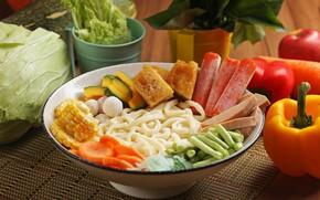 Картинка овощи, блюдо, лапша, крабовые палочки