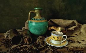 Картинка кофе, зерна, чашка, кувшин, натюрморт