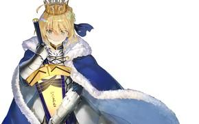 Картинка девушка, меч, корона, мантия, сейбер, Артурия Пендрагон, Судьба ночь схватки, эскалибур, Fate / Stay Night