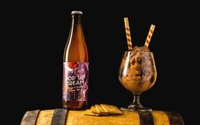 Картинка бокал, бутылка, мороженое, напиток, натюрморт, бренд