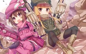 Картинка оружие, девочки, аниме, Sword Art Online, Sword Art Online Alternative: Gun Gale Online