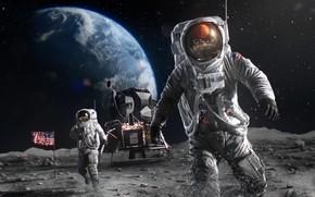 Картинка Луна, Земля, астронавт