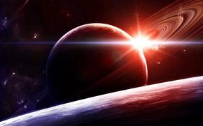 Картинка Звезды, Планета, Космос, Туманность, Планеты, Fantasy, Planets, Арт, Stars, Space, Блик, Art, Спутник, Planet, Sun, …