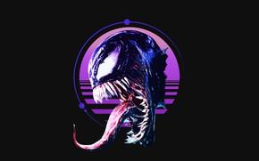 Обои язык, монстр, клыки, wave, Marvel Comics, Веном, Venom, Марвел, симбиот, retrro