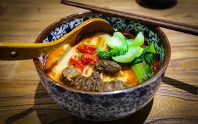 Картинка ложка, мясо, перец, миска, овощи, Японская кухня