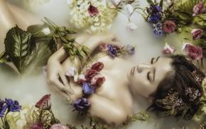 Обои девушка, цветы, азиатка