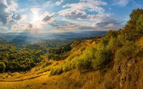 Картинка небо, солнце, горы, город, панорама, Лашков Федор, Кисловодский национальный парк