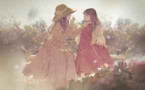 Картинка письмо, шляпка, красное платье, подружки, в саду, на скамейке, две девочки, розовые кусты, by Jinn …