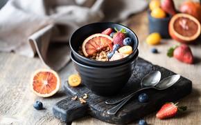 Картинка ягоды, завтрак, мюсли, гранола