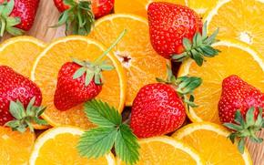 Картинка ягоды, апельсины, клубника, листик