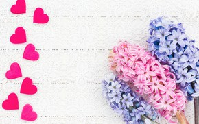 Картинка цветы, букет, сердечки, розовые, blue, pink, flowers, hearts, гиацинты, hyacinths