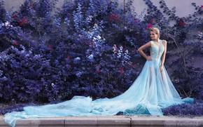 Картинка девушка, поза, стиль, модель, шлейф, платье, красотка, Diana Kartasheva, Petra Tonhauserova
