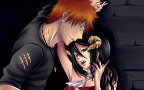 Картинка романтика, пара, рога, царапины, парень, Bleach, Блич, демонесса, Ичиго Куросаки, Рукия Кучики