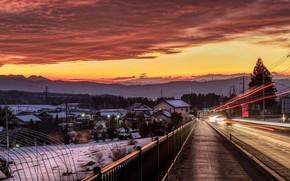 Картинка зима, дорога, небо, облака, снег, деревья, пейзаж, закат, горы, огни, дома, Япония, фонари, тротуар, Numata