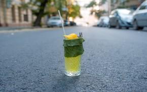 Картинка дорога, зелень, коктейль