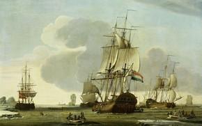 Картинка масло, 1772, [олст, на китобойном промысле, Jochem de Vries, Корабль 'Zaandam' компании 'Claes Taan и …