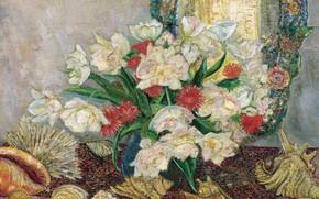 Картинка 1921, Leon De Smet, Леон де Смет, Цветы и Ракушки