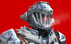 Картинка доспехи, шлем, красный фон, Goblin Slayer, Убийца гоблинов
