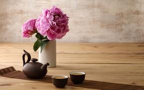 Обои минимализм, чайник, чашки, пион