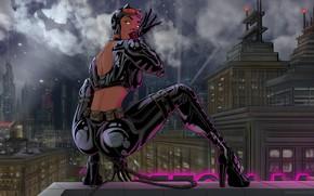 Картинка Ночь, Рисунок, Город, Стиль, Костюм, Фон, Латекс, Женщина-кошка, Арт, Art, Batman, Style, Женщина кошка, Фигура, …