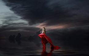 Обои небо, девушка, ночь, тучи, настроение, обработка, арт, блондинка, красное платье, водоем, подол, ненастье, хмуро, фотоарт