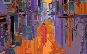 Картинка Отражение, Человек, Стиль, Шлем, Здания, Фон, Трущобы, Арт, Art, Style, Background, Illustration, Переулок, Buildings, Иллюстрация, …