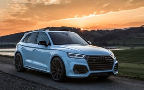 Картинка закат, Audi, 2018, кроссовер, ABT, Widebody, SQ5