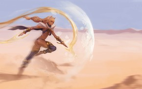 Картинка girl, fantasy, desert, Magic, artwork, shield, fantasy art, fantasy girl