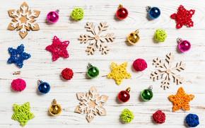 Картинка снежинки, стол, игрушки, Новый год, елочные украшения