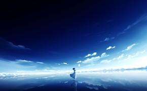 Картинка небо, вода, девушка, голубь