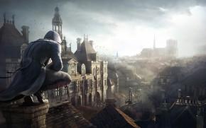 Картинка город, капюшон, парень, Assassin's Creed, Assassin's Creed Unity, гильетина