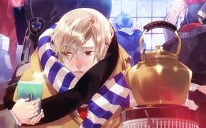 Картинка чайник, печь, парень, Starry Sky, Starry★Sky, визуальный роман, аниме (2011), замёрз