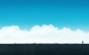 Картинка небо, девочка, одна