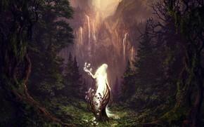 Картинка лес, горы, водопад, The Sleeping Green, Vaipuminen