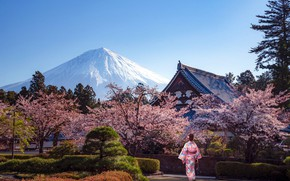Картинка деревья, пейзаж, природа, дом, парк, женщина, японка, гора, весна, Япония, сакура, фонари, аллея, цветение, кусты, …