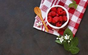 Картинка цветы, малина, ягода, ложки