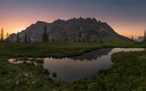 Картинка трава, горы, озеро, отражение, вершины, панорама, водоем