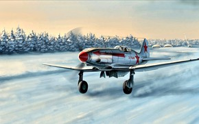 Обои Зима, Снег, истребитель, Взлёт, МиГ-3, советский, Вторая Мировая война, высотный перехватчик, ВВС Красной Армии