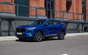 Картинка car, машина, стена, улица, автомобиль, blue, синяя машина, Haval, Haval F7, кросоовер, китайская машина
