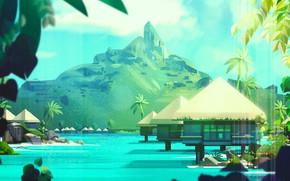 Картинка Океан, Море, Горы, Остров, Пальма, Дом, Стиль, Пальмы, Домики, Архитектура, Арт, Art, Style, Бухта, Digital, …