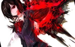 Картинка взгляд, девушка, монстр, гуль, Tokyo Ghoul, Токийский гуль, Канеки Кен, Тока