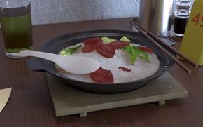 Картинка еда, завтрак, арт, рис, Xiankun Liu, 煲仔饭
