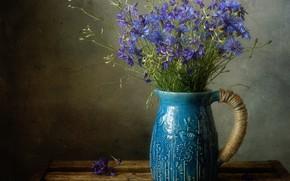Картинка цветы, темный фон, доски, букет, лепестки, голубые, ваза, кувшин, натюрморт, ящик, синие, мешковина, васильки, композиция, …