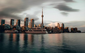 Картинка city, Canada, sky, ocean, coast, sunset, water, dusk, Toronto, buildings, yacht, architecture, boat, cityscape, reflections, …